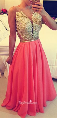 Gorgeous A-line Beaded Prom Dress-Appliques Chiffon Long Prom dress Grad Dresses, Event Dresses, Dance Dresses, Homecoming Dresses, Dresses 2016, Pretty Dresses, Simple Dresses, Beautiful Dresses, Festa Party