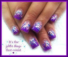 Aunt did these. Acrylic Nails, Gel Nails, Purple Glitter Nails, Solar Nails, Summer Nails, Pretty Nails, Aunt, Nail Ideas, Projects To Try