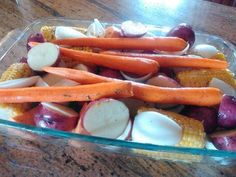 Vegetables with maple glaze.   I made this very simple side dish of oven roasted vegetables, after baking them for about an hour covered at 400 degrees, I coated them in a...
