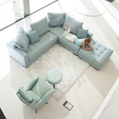 Living Room Furniture Modern L Shaped Fabric Sectional Sofa Set Design Couc - myriaddecor Living Room Sofa Design, Living Room Furniture Layout, Living Room Designs, Living Room Decor, Furniture Design, Corner Sofa Set, Sofa Set Designs, Comfortable Living Rooms, Lounge