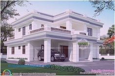 Kerala home design and floor plans: Modern flat roof house in 395 sq yd - House Plans, Home Plan Designs, Floor Plans and Blueprints Flat Roof House Designs, House Roof Design, House Outside Design, 2 Storey House Design, Duplex House Design, Simple House Design, Modern House Design, Style At Home, Architect Design House