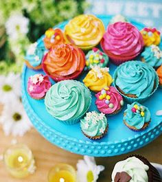 Beautiful Spring colored Cup Cakes