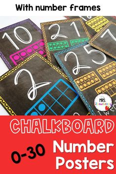 Chalk board number posters from 0 to 30. Each poster includes the digit, word and the number represented in ten frames. Practice number sense, counting, recognizing numbers and more in your preschool, kindergarten, first or second grade classrooms. Chalkboard Numbers, Number Recognition Activities, Number Posters, Primary Resources, First Grade Classroom, Australian Curriculum, Ten Frames, Phonics Activities, Help Teaching