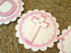 Pink Baptism Banner, Christening Decorations, God Bless Banner, Baptism Decorations and add a diamond