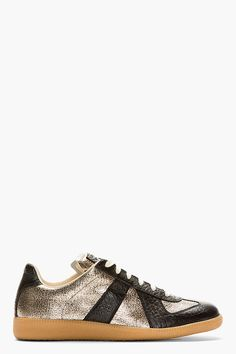 MAISON MARTIN MARGIELA Black & Metallic Low-Top Sneakers