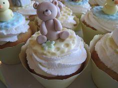 strawberries & cream baby shower cupcake