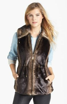 Ellen Tracy Faux Fur Anorak Vest (Regular & Petite) (Online Only) available at #Nordstrom