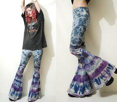 TIE DYE Flares BELLS Bell Bottom Pants Purple Blue Bohemian Hippie Grunge Festival ooak Handmade xs s