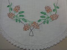 Beautiful Embroidered -Vintage Dresser Scarf- Pine Cones-Vintage Linens by starspatternstore on Etsy