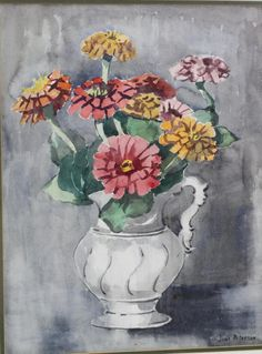 """""""ZIinnias,"""" Jane Peterson, watercolor on panel, 19 x 14 private collection. Lake Orion, Types Of Flowers, Abcs, Zinnias, View Image, Impressionist, Still Life, Exotic, Art Gallery"""