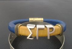 WHAT: Divine 9 Collection: Sigma Gamma Rho--Handcrafted Genuine Leather Bracelet  ***IMPORTANT: See How to Determine your BRACELET SIZE below****