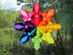 Rainbow WaldorfInspired Window Star van harvestmoonbyhand op Etsy, $16.00