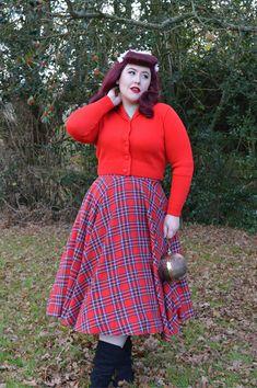 6e5f10bcd9f0cb Vivien of Holloway Slash neck top Jenny cardigan 1950s red tartan circle  skirt Circle Dress