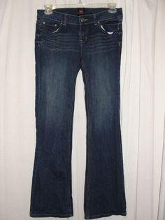 2b bebe Dark Blue Wash Stretch Denim Flare Leg 5-pocket Low Rise Jeans Size 30 #bebe #Flare