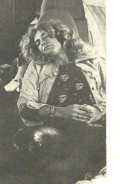"Robert Plant aboard Led Zeppelin's private jet, ""The Starship"""