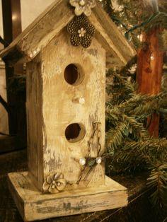 wood birdhouse shabby chic