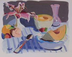 Still Life 2 Still Life 2, Be Still, American Artists, Gouache, Food Art, Objects, Shapes, Color, Paintings