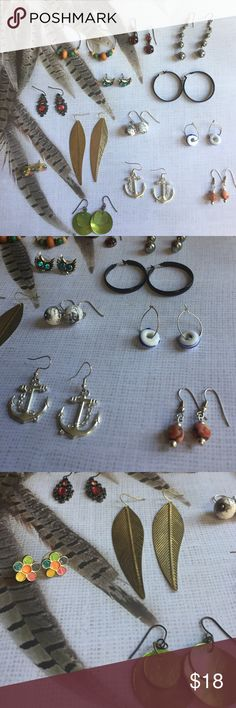 🐝 Earring Bundle! 🐝 Bundle of 13 pairs of earrings. All previously worn and cleaned. Great wearing shape. One pair of hoops is missing one small bead. 2 pairs of post earrings, 3 hoops and 7 dangle. Any questions feel free to ask! Would prefer to sell as a whole! Great value 🌻 Francesca's Collections Jewelry Earrings