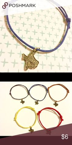 Texas Tiny Charm Adjustable Cord Bracelet Available in colors in second picture! Jewelry Bracelets
