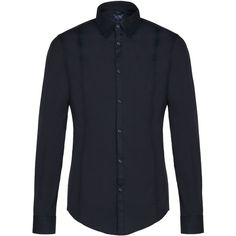ARMANI COLLEZIONI Stretch Cotton Shirt With Double Darts ($145) ❤ liked on Polyvore featuring men's fashion, men's clothing, men's shirts, men's casual shirts, guys, tops, blue, mens blue shirt, mens casual button down shirts and mens button down collar shirts