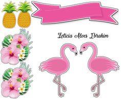 Topper tropical Flamingos Printable Stickers, Free Printables, Flamenco Party, Flamingo Craft, Tropical Party, Scrapbooks, Lily, Clip Art, Birthday
