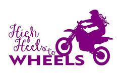High Heels to Wheels Vinyl Decal Stickers Moto Girl Chick ATV Dirtbike Quad Bike | eBay