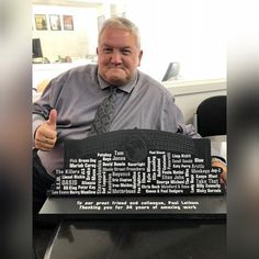 Here's a very special Welsh slate plaque that we had the pleasure of designing and making, on behalf of the @motorpointarenacardiff.  This plaque was commissioned as a gift for Paul Latham (in the photo), COO at Music Live Nation UK & Ireland, who is retiring after 34 years!  Interested in Valley Mill creating your own bespoke plaque? Drop us an email at sales@valleymill.co.uk 😀