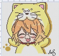 Beaded Cross Stitch, Cross Stitch Charts, Cross Stitch Patterns, Kawaii Diy, Anime Kawaii, Beading Patterns, Embroidery Patterns, Pixel Art Grid, Pixel Drawing