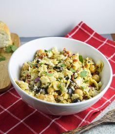 "Mediterranean Chickpea Salad   yupitsvegan.com. Light, fresh, super easy vegan chickpea salad with Mediterannean flavors and crumbled almond ""feta"". Gluten-free, grain-free recipe.   potluck at ohmyveggies.com"