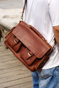 "Handmade Leather Briefcase / Messenger / 13"" Laptop or 13"" Macbook Bag in Brown"
