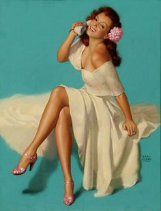 Vintage Pin Up Girl Illustration | Pin-Up Girls | Sugary.Sweet | #PinUp #Art #Vintage #Illustration