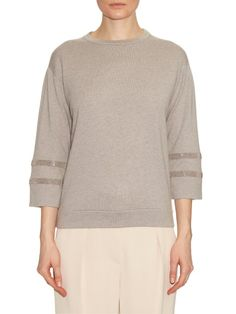 Brunello Cucinelli Bead-embellished cashmere top