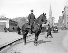 Old Photos of Boston Police - Mounted cop on Tremont Street, 1915. (Photo by Leslie Jones)