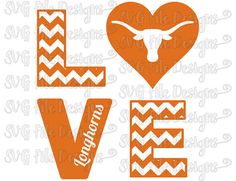 Chevron Love University of Texas Longhorns Football Logo Cutting File / Clipart in Svg, Eps, Dxf, Png, and Jpeg for Cricut and Silhouette