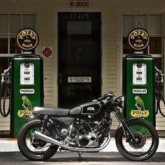 Old bike on old gas station.