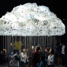 Cloud made from 6,000 light-bulbs by Caitlind Brown. ~ 'cloud' was part of the nuit blanche all-night contemporary arts festival in Calgary, Canada.  Her life-sized interactive light installation engages the public to participate by standing beneath the structure and pulling lights on and off, creating the flickering aesthetic of an electrical cloud.  Posted by Trust Me Group