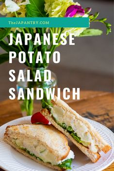 Learn how to make the creamy, crunchy Japanese potato salad and the sandwich! Japanese Potato Salad, Japanese Sandwich, Japanese Food, Japanese Recipes, Chinese Recipes, Salat Sandwich, Vegetarian Recipes, Healthy Recipes, Yummy Recipes