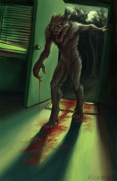 Werewolf by h-scribner.deviantart.com on @DeviantArt  After a long night of killing you come back home to sleep off the hole cow you just killed and ate.
