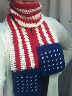 2 for 1 Star Spangled American Flag Scarf / Cowl Pattern by HooknChain, $5.00