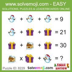 Solvemoji - Free teaching resources - Emoji math puzzle, great as a primary math starter, or to give your brain an emoji game workout. Logic Math, Math Quizzes, Math Humor, Math Games, Math Activities, Math Puzzles Brain Teasers, Printable Brain Teasers, Maths Puzzles, Brain Teasers Pictures