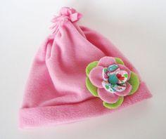 Cute Fleece Hat with Flower Pin, Warm Fleece Hat, Child to Teen Fleece Hat. $14.00, via Etsy.