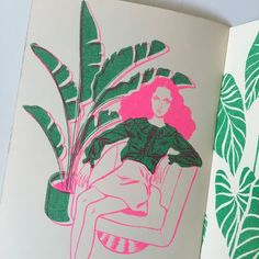 By Bijou Karman. 'Girls and Plants' Zine. risograph printed in neon pink and green by Tiny Splendor in Los Angeles, CA.