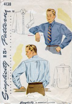 1940s Men's Shirt Vintage Sewing Pattern by BessieAndMaive. $12.00, via Etsy.
