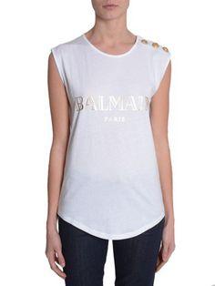 BALMAIN Sleeveless T-Shirt. #balmain #cloth #topwear