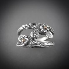 Blossoming Romance Sterling Silver and Gold Diamond Engagement Double Band Ring - Beth Millner Jewelry - 3