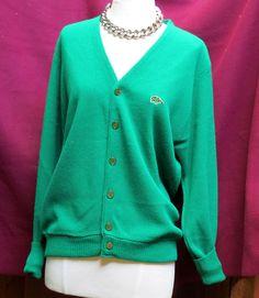 Vintage Green Tiger Heritage Pinup Sweater Cardigan Blazer Sz M Green Pearlized #GreenTiger
