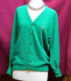 Vintage Green Tiger Heritage Pinup Sweater Cardigan Blazer Sz M Green Pearlized #GreenTiger