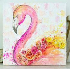 My boys, my world!: Flamingo 12 x 12 canvas