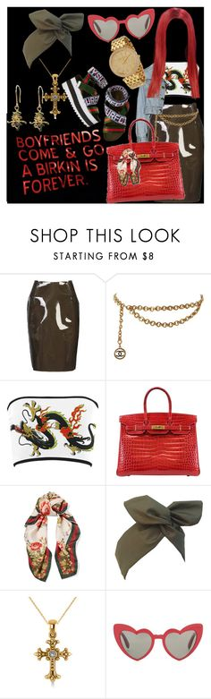 """""""Who needs a boyfriend?"""" by theonlydej ❤ liked on Polyvore featuring Sibling, Chanel, Hermès, Gucci, Allurez and Yves Saint Laurent"""