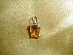 Antique Vintage Art Deco Honey Topaz Marquis Cut Sterling Bale Delicate Pendant